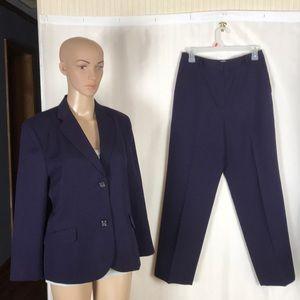 Talbots 2 Piece Deep Purple Wool Pants Suit